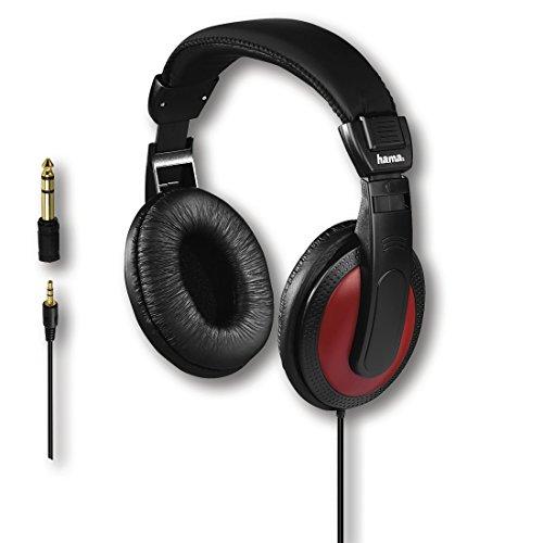 Hama Over-Ear-Stereo-Kopfhörer (vergoldeter 3,5mm-Klinkenstecker und 6,35-mm-Adapter, 113 dB, 2 m Kabel) schwarz/rot (2m Ohrhörer)