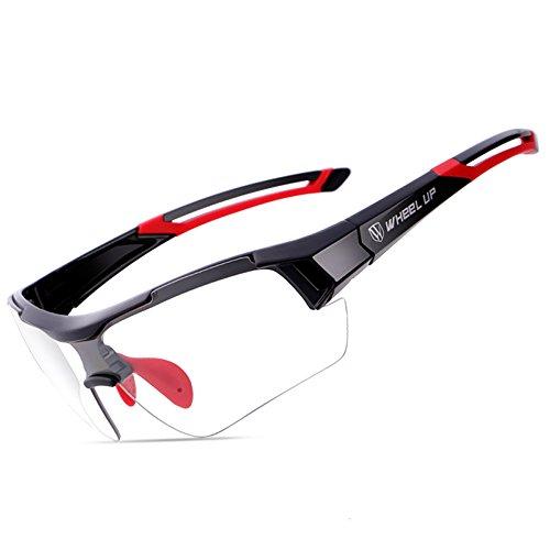Occhiali da bicicletta anti-uv bicolore all-weather occhiali da sole biciclette da sport all'aria aperta occhiali da sole sportivi da auto fotocromatici occhiali da sole antivento bicicletta (rosso)