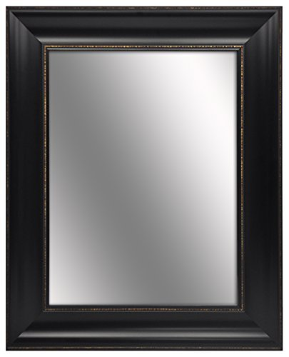 Elan 25.5 inches by 31.5 inches Ornate Black with Gold Beading Framed Mirror by hometrends