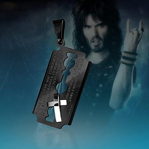 Monjiang Collar colgante de titanio hombres de acero Cruz Biblia collar, collar de la cruz de la Biblia para Hombres