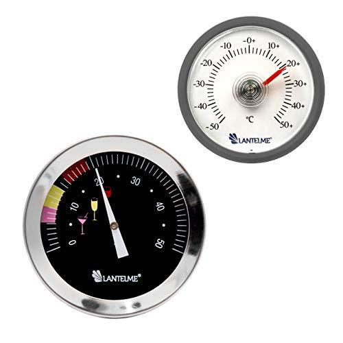 Lantelme 6685 Weinthermometer und Universal Kunststoffthermometer Set - Wein Thermometer Wasserdicht aus Edelstahl und Analog Kunststoff Thermometer