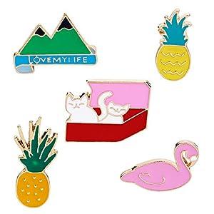 MJARTORIA Damen Mädchen Kinder Cartoon Emaille Brosche Ananas Flamingo Katze Musik Futter 3D Anstecker Zubehör für Kleider Umhang Kragen Vintage Pins