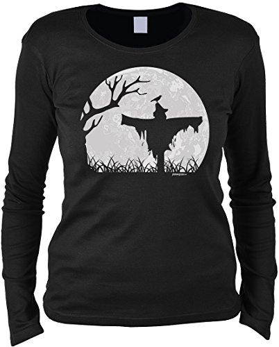Fun Langarmshirt Damen - Halloween Vogelscheuche - T-Shirt Unisex, Farbe: Schwarz (Last-minute-halloween-kostüme Lustig)