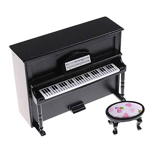 Malloom-Bekleidung Hölzernes schwarzes aufrechtes Klavier-Mini-Puppen-Modell für 1/12 Puppenhaus-Miniatur