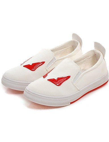 ZQ Scarpe Donna - Ballerine - Casual - Punta arrotondata - Piatto - Tessuto - Nero / Bianco , white-us8 / eu39 / uk6 / cn39 , white-us8 / eu39 / uk6 / cn39 black-us5.5 / eu36 / uk3.5 / cn35