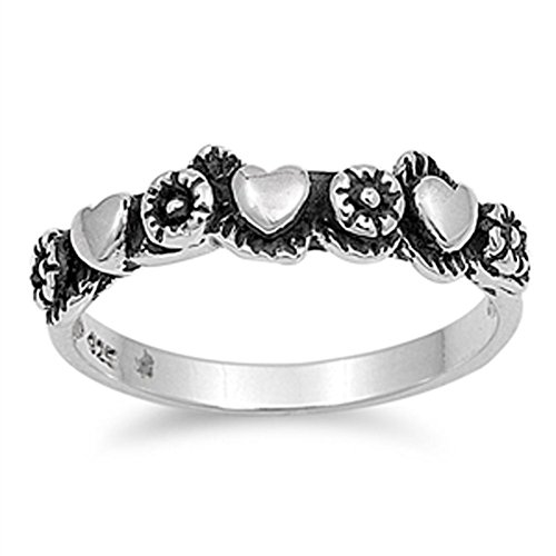 Heart Flower Girl' s Gift promessa anello New .925Sterling Silver Band taglie 4-10, Argento, 19,5