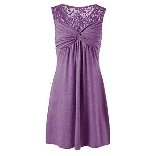 TUDUZ Party Kleid Damen Sommer O-Ausschnitt Armellose Spitze Blumen Patchwork Shirt Kleid (XXXL,Weinrot)