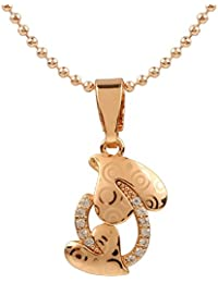 Ananth Jewels Heart Shaped Rose Gold Plated Pendant Necklace For Women - B073T4DF7W