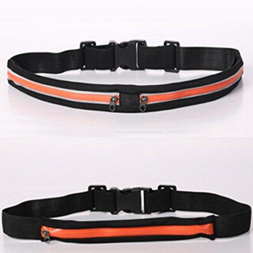 Hohe Elastic Gürtel Taille Pack Fitness Stretch Sport Bag Diebstahlschutz Wasserdicht Handytasche Tasche Orange