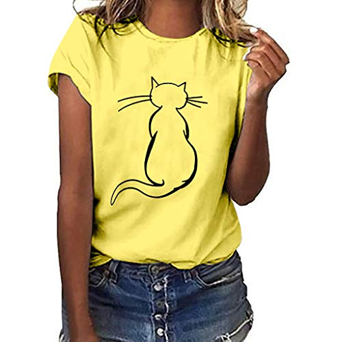 dba26148 Lazzboy Women T-Shirt Top Letter Animal Sunflower Print Short Sleeve Blouse  Ladies Slouch Plus