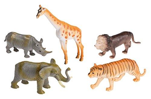 Idena 4320409 Spielfigurenset mit 5 Zootieren, aus Kunststoff, frei von BPA und Phthalaten, je ca. 10 cm