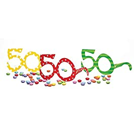 6 Occhiali in Carta per i 50 ANNI – idea scherzo gadget per la festa di compleanno del/della neo Cinquantenne – colori…