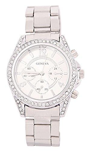 KAIKSO-IN Damenmode Genf Bling Kristalledelstahl-analoge Quarz-Armbanduhr (Silber)