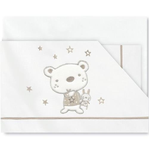 Pirulos 00313010 - Sábanas, diseño osito star, 60 x 120 cm, color blanco y lino