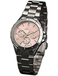 ufengke® schöne frauen stahlband strass handgelenk armbanduhren,dekorativ drei augen wasserdicht armbanduhren für mädchen-rosa, dekorative kleine Zifferblätter