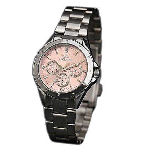 ufengke® belles femmes bande en acier strass poignet montre à bracelet,décoratif trois yeux montre à bracelet étanche pour filles rose,petit cadran de décorative