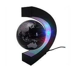 Idea Regalo - E-Plaza C Forma Fluttuante Globo con LED Luci Magnetico Campo Levitazione Istruzione Globo per Casa Ufficio Decorazione (4 Pollici, Nero)