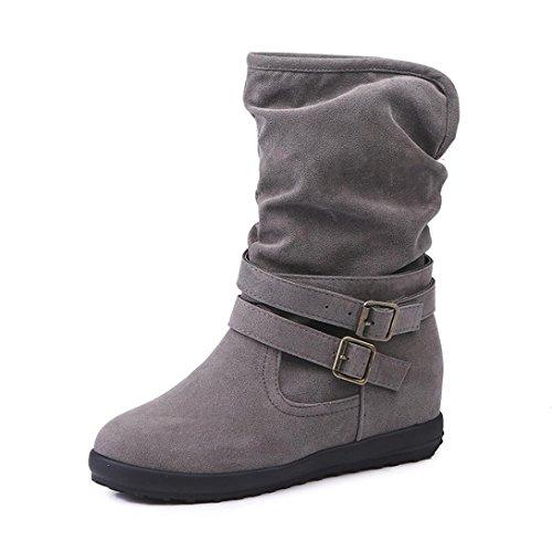 Frauen Wasserdicht Winterstiefel (FEITONG Frauen Stiefel Damen Stiefeletten Winter Freizeit Wasserdicht Schuhe Anti-Slip Warm Winterstiefel Schuhe (EU:39=CN:40, Grau))