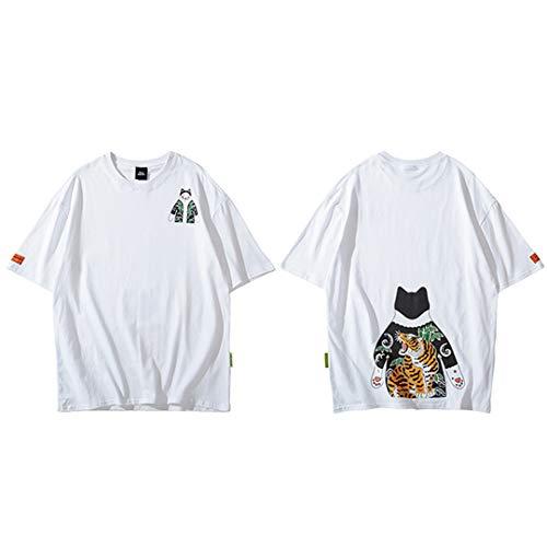957d5f94 Hip Hop Japanese Ukiyo E Cat Tiger Mens Streetwear Harajuku T-Shirt Summer  Short Sleeve
