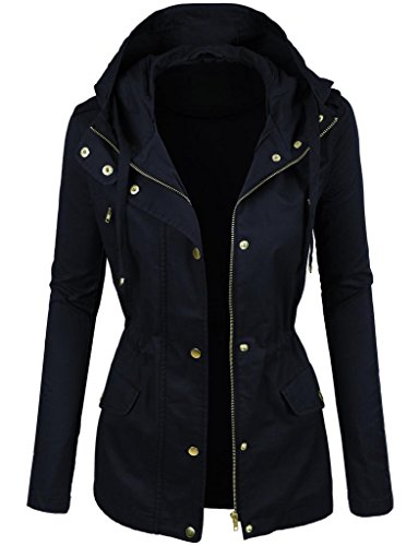 Prime Ladies Parka Jacket Women Cotton Casual Trench Coat PK-02 (2NAVY, 10)