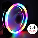Meiyiu 12V 33CFM 6pin RGB Colorful Light 12CM DC Computer Case Chassis Cooling Fan Colorful Monochrome Does not Change Color Fan