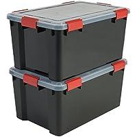 Iris Ohyama 137063AT-L Set de 2cajas de almacenamiento hermético plástico negro 59x 39x 29cm