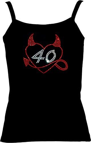 elegantes Shirt für Damen Strass zum 40. Geburtstag Herz mit Teufelshörnchen Strass Geburtstagsshirt Rot