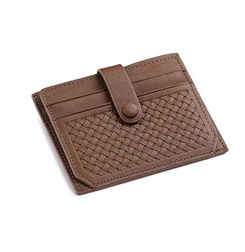 flintronic Ausweis- und Kreditkartenetui Leder, Kreditkartenetui mit RFID Blocker, Visitenkartenetui Leder (#2 Schokolade) - Button Zip Wallet