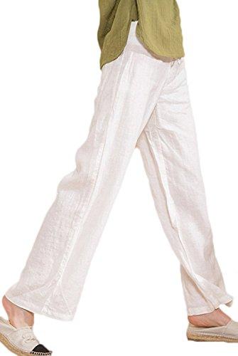 Ecupper Women's Casual Elastic Drawstring 100% Linen Pants High Waisted Trousers