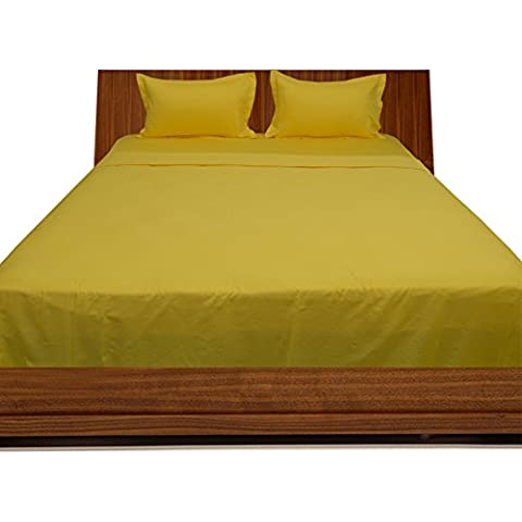 600TC 100% cotone egiziano, finitura elegante 4pcs Sheet Set Solido (tasca dimensioni: 28 pollici), Cotone, Yellow Solid,