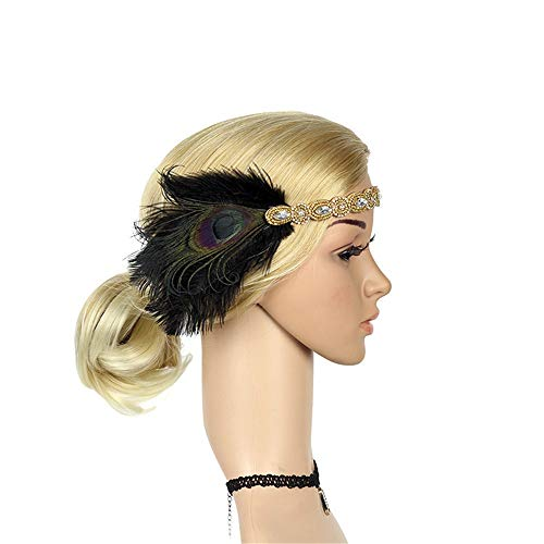 Heatnine 1920er Jahre Kopfschmuck Feder Flapper Stirnband Great Gatsby Headdress Vintage Party Cosplay