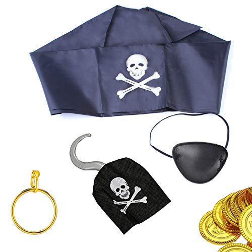 Ohighing pirata accessori set per festa pirata incluso gancio pirata, benda, orecchino, pirata bandana di taglia unica, 12pcs pirata tesoro monete d' oro di halloween di carnevale