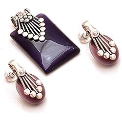 Jewar mandi Set Silver Gold Plated Finish Ad Cz Jade Blue Sapphire Gemstones Traditional Pendant 7244