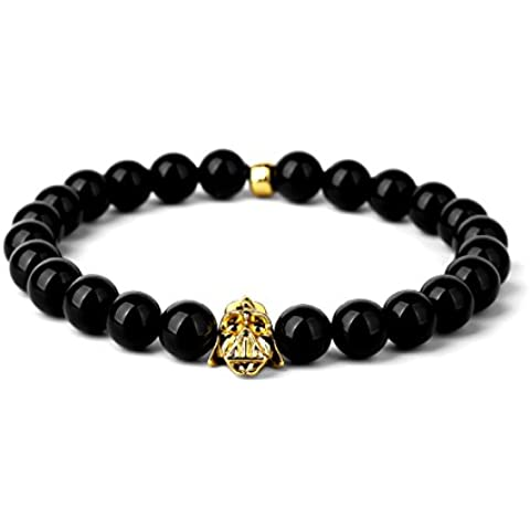nyuk Nero Naturale agata pietra perline braccialetto elastico uomini uomini elastico bracciali - Emerald Jade Bracciale