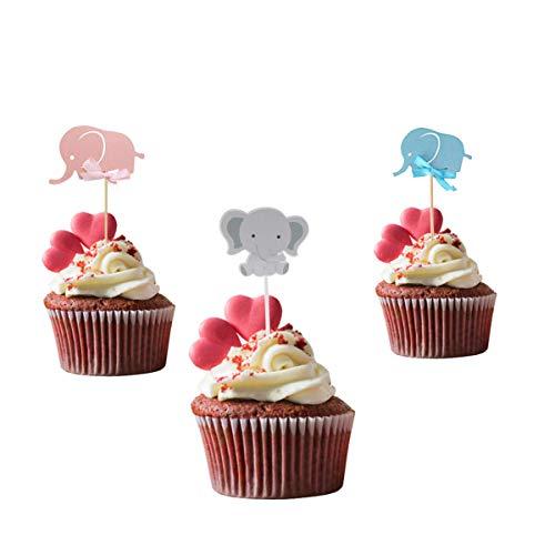 Amosfun 48pcs Elefant geformte Kuchen-Deckel-Papierkuchen wählt Kuchen-Dekor-Babyparty-Partei-Versorgungsmaterialien aus