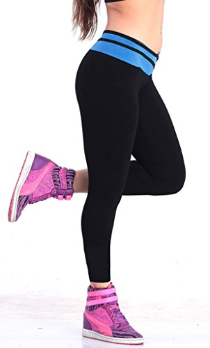 iLoveSIA® Leggings de sport Femme- Pantalons Capri Jogging YOGA Collants (Liquidation totale) 1095 Noir/Bleu