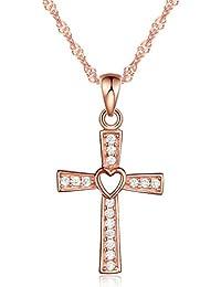Infinito U - Collares Cruz para Mujer de Plata de Ley 925 Colgante Elegante con Diseño de Corazón y Cruz, Oro Rosa