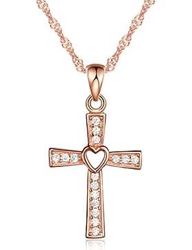 Unendlich U Klassisch Kreuz Herz Damen Halskette 925 Sterling Silber Zirkonia Anhänger Kette mit Anhänger, Silber...