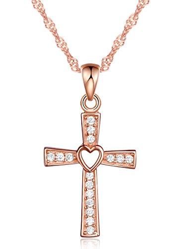 Unendlich U Klassisch Kreuz Herz Damen Halskette 925 Sterling Silber Zirkonia Anhänger Kette mit Anhänger, Rosegold
