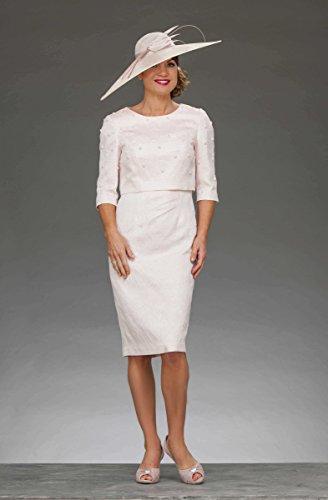 Dressvip Femme Robe Mère de Cérémonie Mancherons Longueur Genoux Blanc Robe de Cocktail avec Veste Blanc