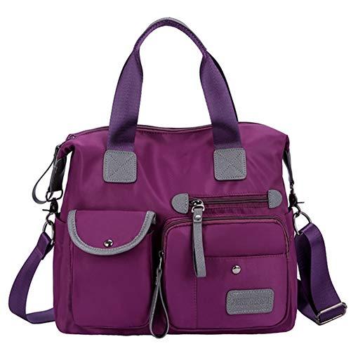 Oxford Lila (Mode Einfarbig Handtasche Wasserdichte Oxford Schulter Messenger Einzel-Schulter Tasche, Multi-Slot Taschen Design(Lila))