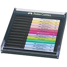 Faber-Castell - Confezione da 12 penne Pitt Artist Pen B Pastell, colori pastello - Faber Castell Pitt Artist Brush