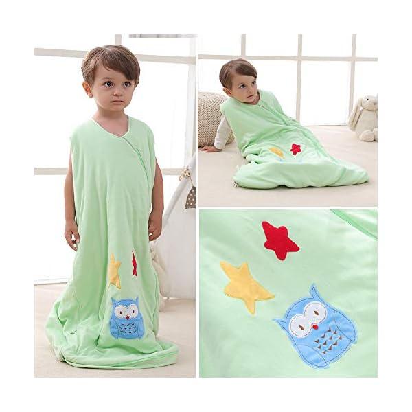 Saco de dormir para bebé, de algodón, para niños, recién nacidos, 2,5 TOG Verde: búho y estrella. verde verde Talla…