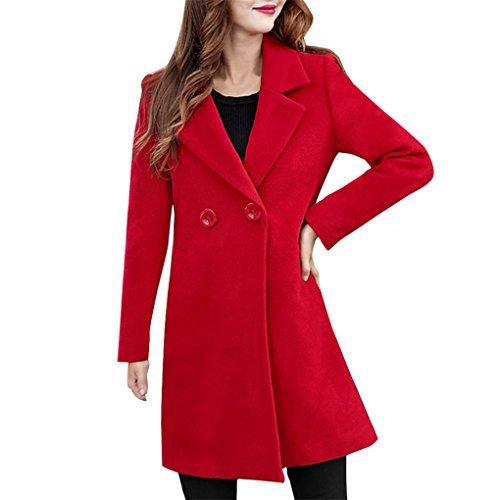 Lady Wintermantel Frühling Herbst Jacke Damenbekleidung Damen Winter Wollmantel Mantel&JYJMWomens Kaschmir ähnliche dicker Jacke Outwear Parka Cardigan schlanker Mantel Mantel (3XL, Rot) (Kaschmir Strickjacke Like)