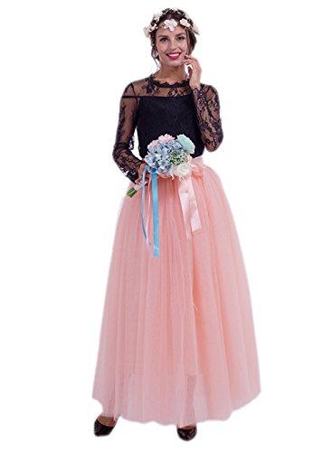 Honeystore Damen's Tüllrock Lang 5 Layer Prinzessin Kleider Lang Petticoat Ballettrock Maxi Unterrock Pettiskirt Lang One Size (Selbstgemacht Kostüm Anna)