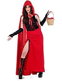 Elbenwald Gothic Sexy Red Riding Hood Costume Women 3 Piece Dress, Cloak, Cuffs - L