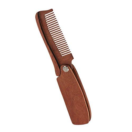 MagiDeal Bartkamm – antistatischer klappbar Holzkamm für Bart Pflege Taschenkamm