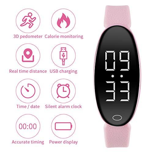 RCRuning-EU Fitness Tracker Braccialetto Pedometro con Contatore Passi e Calorie Smart Watch per Donne Bambini e Uomini