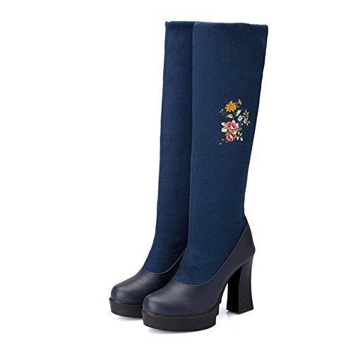 AllhqFashion Damen Ziehen Auf Rund Zehe Hoher Absatz Gemischte Farbe Stiefel Blau