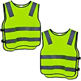 2 High-Visibility Children's Safety Vest Yellow Breathable Universal Size Protective Vest for Boys / Girls